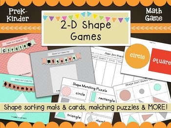 2 D Shape Games, Sorting Mats, Printables, Flash Cards, Puzzles, Memory Game