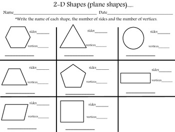 2 d shapes name sides vertices by lucyd72 teachers pay teachers. Black Bedroom Furniture Sets. Home Design Ideas