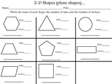 2-D Shapes (name, sides, vertices)