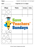 2-D Shapes Worksheets (2 levels of difficulty)