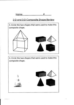 2-D and 3-D Composite Shape Review or Quiz