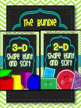 2-D and 3-D Shape Hunt and Sort BUNDLE