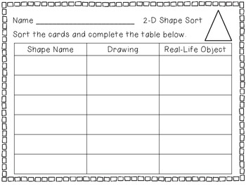 2-D and 3-D Shape Match - 2 Centers for the Primary Grades