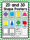 2-D and 3-D Shape Posters {Green and Blue Chevron}