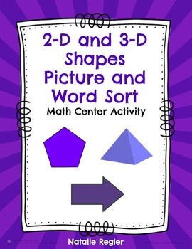 2-D and 3-D Shapes Picture and Word Sort