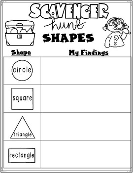 2-D and 3-D Shapes Scavenger Hunt
