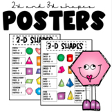 2-D & 3-D shapes classroom posters or printable tools