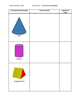 2-D and 3-D shapes lesson plan for Kindergarten