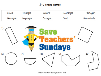 2-D shape names lesson plans, worksheets and more