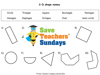 2-D shape names worksheets (2 levels of difficulty)