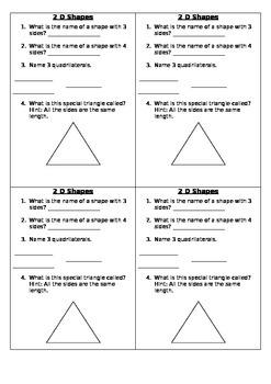 2 D shapes exit card