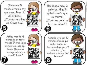 2 DIGIT Addition & Subtraction QR CODE Word Problems [IN SPANISH]
