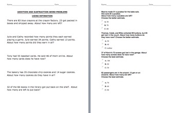 2 DIGIT Estimation Word Problems Addition & Subtraction - VA SOL Correlated