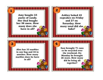 2 Digit Addition W/O Regrouping Task Cards-Thanksgiving Themed with QR Codes