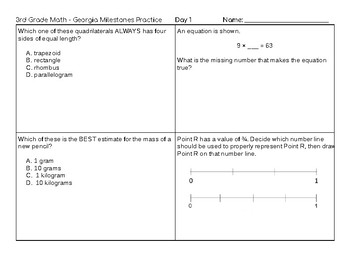 2-Day SAMPLE: 3rd Grade Math 10 Days of Practice for Georgia Milestones EOG Test