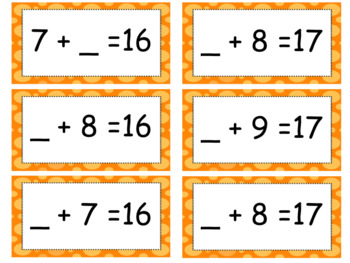 2 Unknown or Missing Number Addition Bingo Games to 20 Differentiated