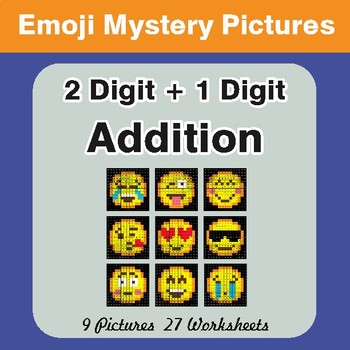 2-Digit + 1-Digit Addition Color-By-Number EMOJI Mystery Pictures