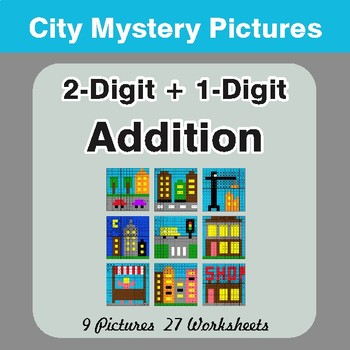 2-Digit + 1-Digit Addition - Color-By-Number Math Mystery Pictures