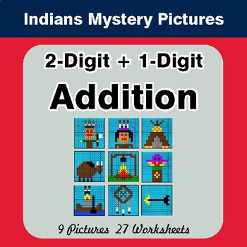2-Digit + 1-Digit Addition - Color-By-Number Mystery Pictures