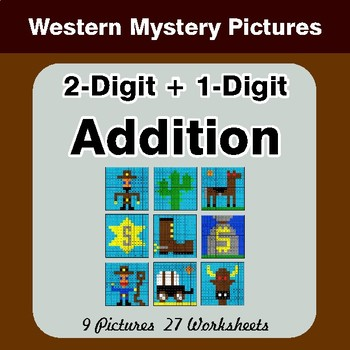 2-Digit + 1-Digit Addition - Color-By-Number Math Mystery Pictures - Hipster Theme