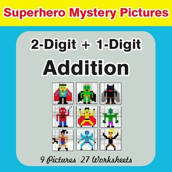 2-Digit + 1-Digit Addition - Color-By-Number Superhero Math Mystery Pictures