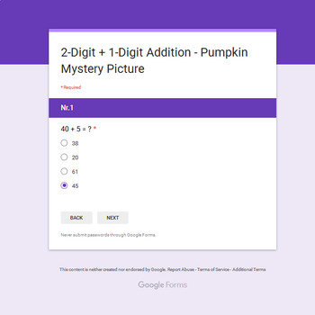 2-Digit + 1-Digit Addition - EMOJI PUMPKIN Mystery Picture - Google Forms