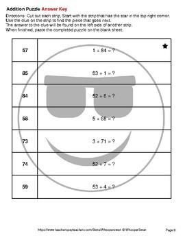 2-Digit + 1-Digit Addition - Emoji Picture Puzzles