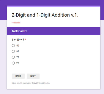 2-Digit + 1-Digit Addition - Interactive Digital Task Cards - Google Forms