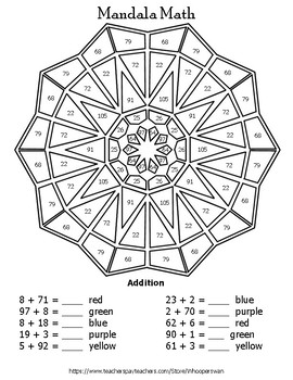 2-Digit + 1-Digit Addition Mandala Math Color by Number