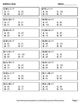 2-Digit + 1-Digit Addition Quiz - Test - Assessment - Worksheet