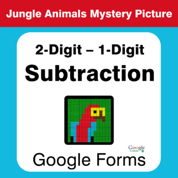 2-Digit - 1-Digit Subtraction - Animals Mystery Picture - Google Forms