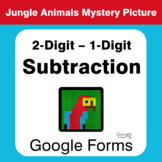 2-Digit - 1-Digit Subtraction - Animals Mystery Picture -