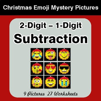2-Digit - 1-Digit Subtraction - Christmas EMOJI Color-By-Number Math Mystery Pictures