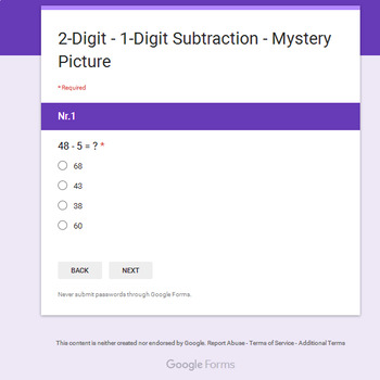 2-Digit - 1-Digit Subtraction - Christmas EMOJI Mystery Picture - Google Forms
