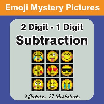 2 Digit - 1 Digit Subtraction Color-By-Number EMOJI Math Mystery Pictures