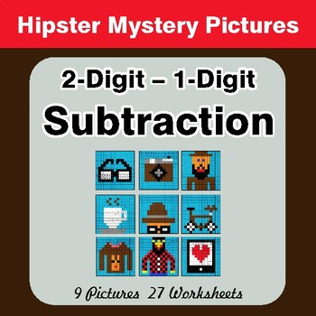 2-Digit - 1-Digit Subtraction - Color-By-Number Math Mystery Pictures