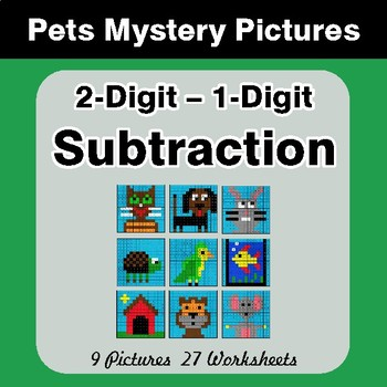2-Digit - 1-Digit Subtraction - Color-By-Number Math Mystery Pictures - Pets