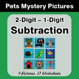 2-Digit - 1-Digit Subtraction - Color-By-Number Mystery Pi