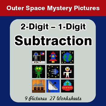 2-Digit - 1-Digit Subtraction - Color-By-Number Math Mystery Pictures - Space theme
