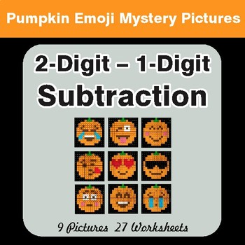 2-Digit - 1-Digit Subtraction - Color-By-Number PUMPKIN EMOJI Math Mystery Pictures