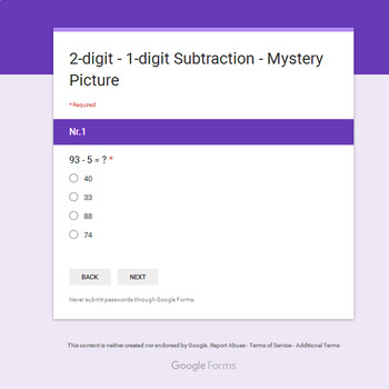 2-Digit - 1-Digit Subtraction - Monster Mystery Picture - Google Forms