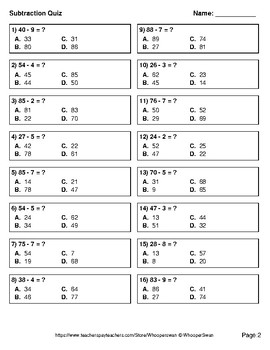 2-Digit - 1-Digit Subtraction Quiz - Test - Assessment - Worksheet