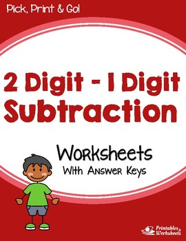 2 Digit - 1 Digit Subtraction Worksheets With Answer Keys
