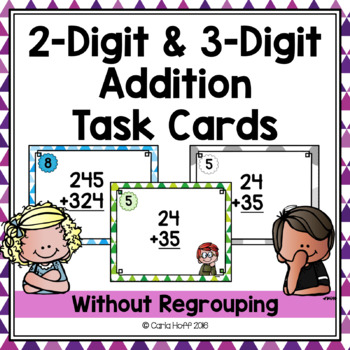 2-Digit and 3-Digit Addition Without Regrouping - Task Cards