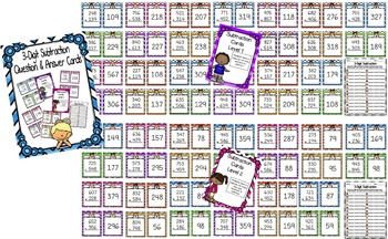 2-Digit & 3-Digit Subtraction with Regrouping Question and Answer Cards
