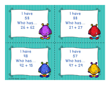 I Have Who Has 2 Digit Addition Game with and without Regrouping 2.NBT.5