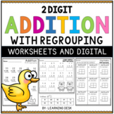 2 Digit Addition With Regrouping Worksheets Google Slides | Distance Learning