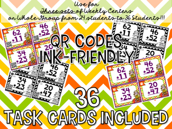 2-Digit Addition 36 Task Cards with Optional QR Code and Ink-friendly Choices