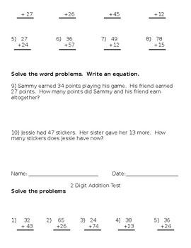 2- Digit Addition Assessments