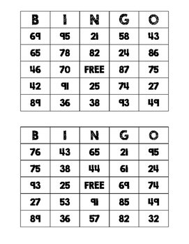 2-Digit Addition BINGO (No Regrouping)